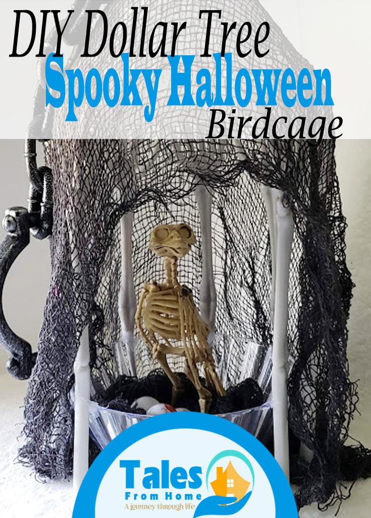 DIY Dollar Tree Halloween Spooky Birdcage #dollartree #dollarstore #DIY #diydecor #halloween #halloweendecor #crafts #halloweencraft