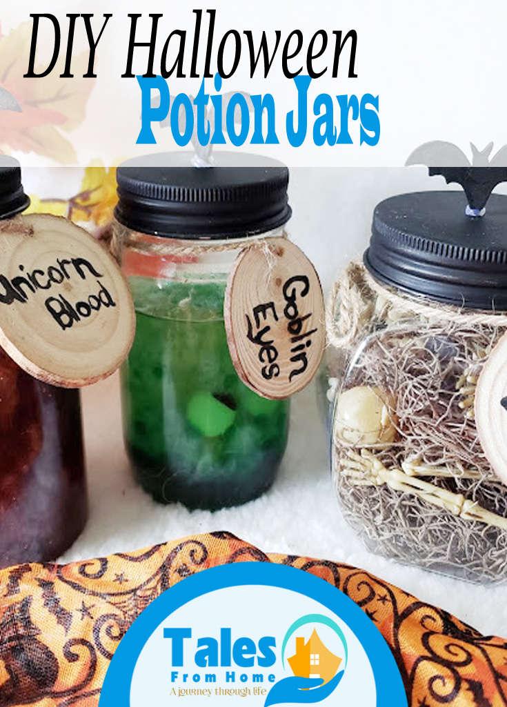 DIY Halloween Potion Jars! Simple & FunDecor! #Halloween #halloweencraft #halloweenfun #halloweendecor #fall #spooky #spookydecor #family #kids #Holiday