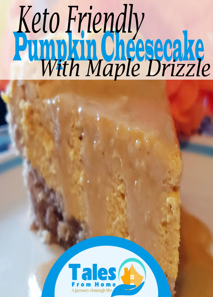 Keto Pumpkin cheesecake with a delicious maple drizzle! #keto #ketorecipes #ketodesserts #Recipes #cheesecake #pumpkin #falldesserts #pumpkinrecipes