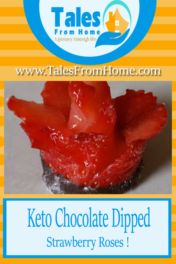 These #keto Chocolate dipped strawberry roses are the perfect #valentinesday or anniversary treat for the low carber in your life! Simple and elegant! #Keto #ketorecipes #ketodessert #lowcarb #LCHF #strawberry #valentinesday