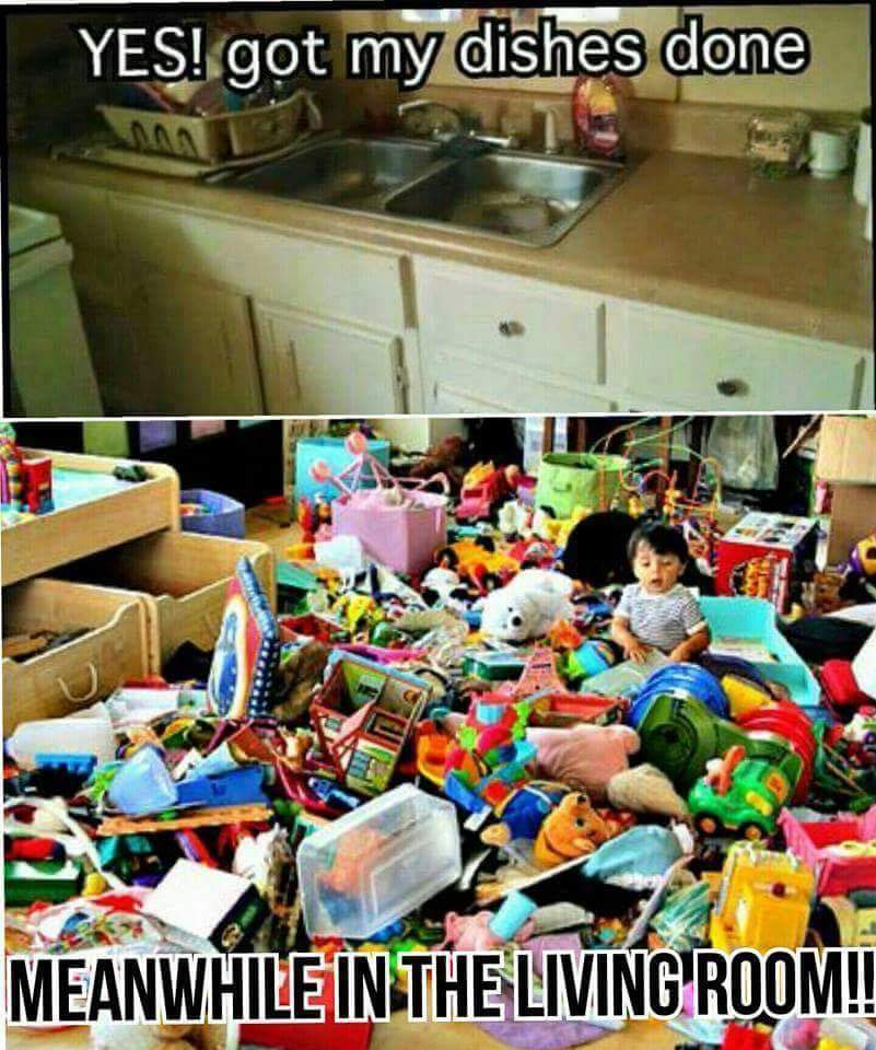 messy house with kids