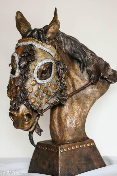 shop dog report,sculpture,horse mask