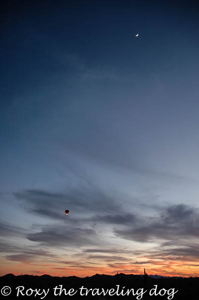 Sunset, balloon, moon, desert