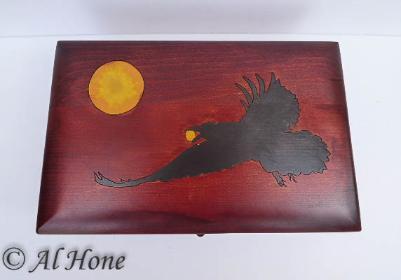 Wood box with Raven and moon, Artsy Fartsy Tuesday