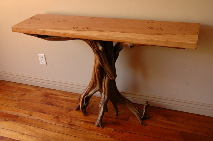 Juniper and cherry table with animal tracks