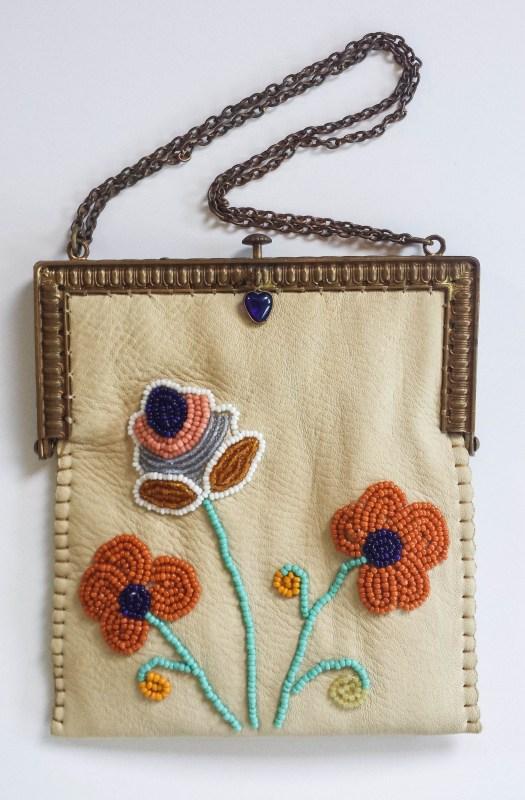beaded purse on vintage frame