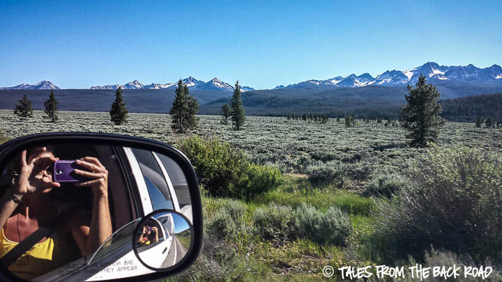 Sawtooth mountains and the rear view mirror