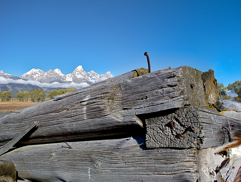 old cabin and tetons