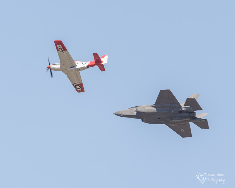 P52 mustang and a F35A jet