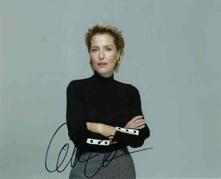 Signed 8x10 photo of Gillian Anderson, star of The X-Files. Autograph obtained TTM.