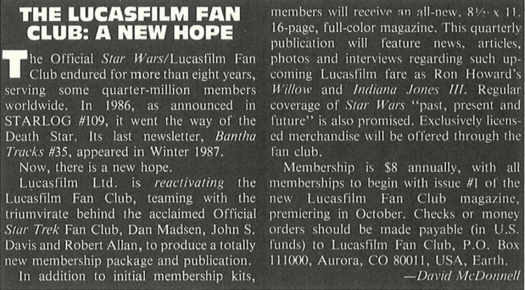 Advertisement for the Lucasfilm Fan Club from 1989