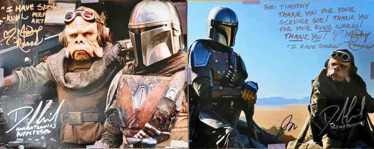 """Two photos from """"The Mandalorian"""" signed by Misty Rosas, David Covarrubias, and Jason Matthews"""