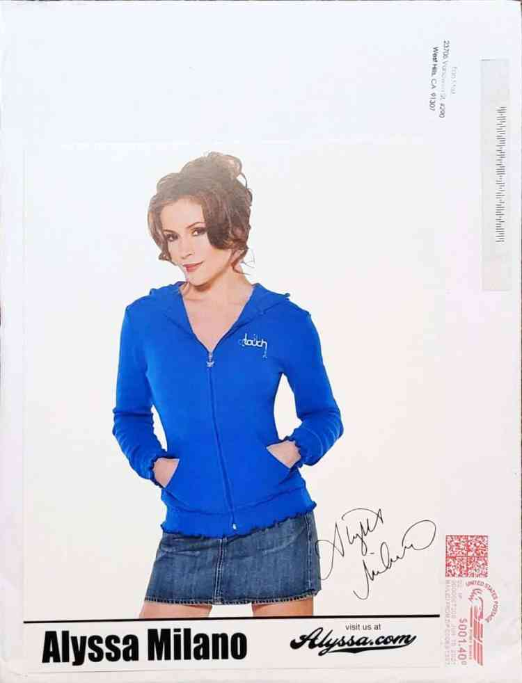 Pre-printed autograph obtained TTM from actor Alyssa Milano.