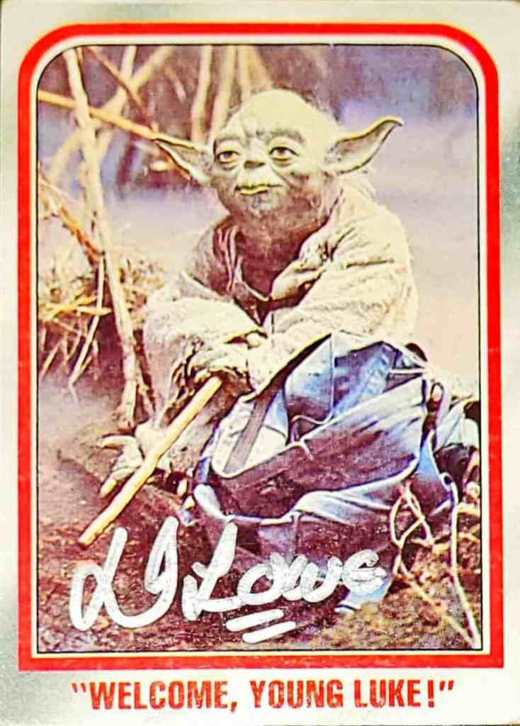 Vintage trading card of Yoda signed by Dennis Lowe TTM