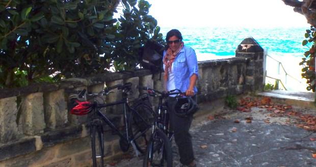 Biking at Grape Bay Beach