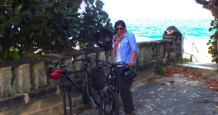 Biking at Grape Bay Beach