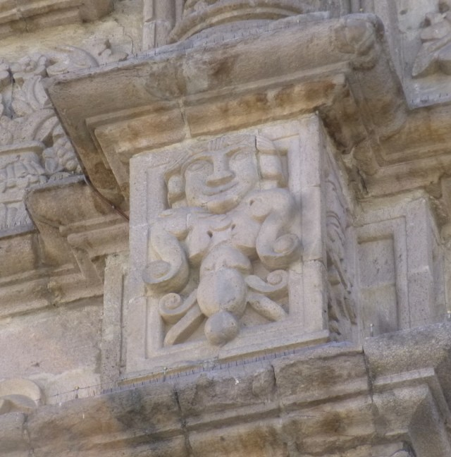 Indiginous Carvings Blend into the Christian Stonework at this church in La Paz