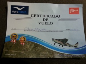 I flew over the Nazca Lines and all I got was this lousy certificate