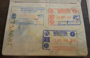 my hard-earned emergency passport stamps for Colombia