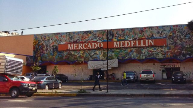 The Mercado Medellin, where we begin our cooking class in Mexico City Casa Jacaranda