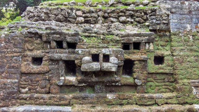 The Jaguar Temple at Lamanai Mayan Ruins in Belize