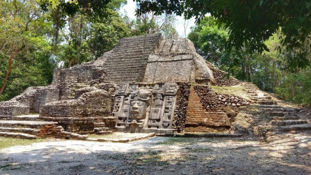 The Mask Temple at Lamanai Mayan Ruins in Belize