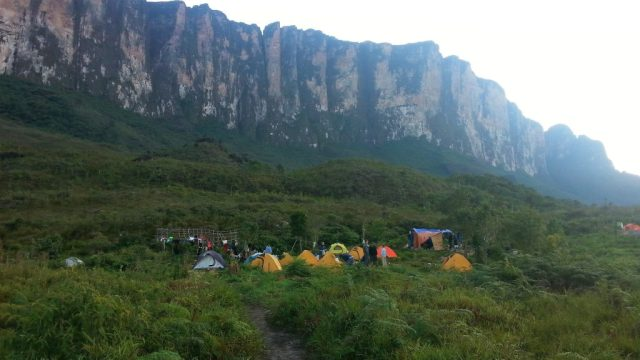 Camp on the 2nd day of the trek, in the shadow of the awesome Roraima Tepuy. Venezuela