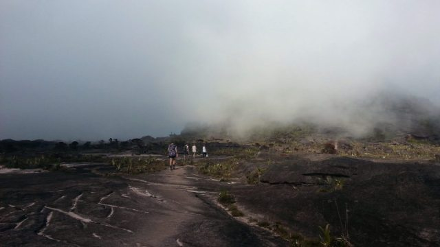 Walking through the mist on Roraima Tepuy Venezuela Canaima national Park