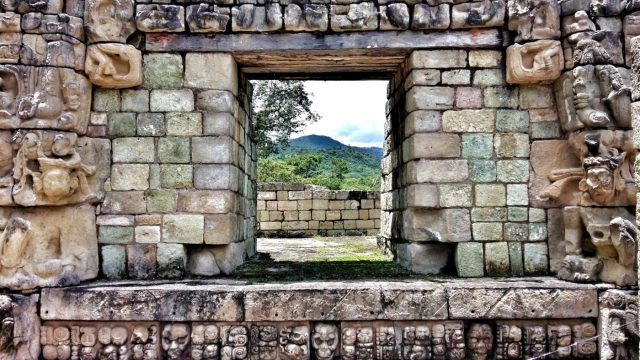 In Copan there are glyphs and carvings everywhere
