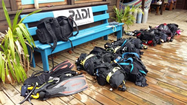 All our Scuba Gear Ready for our First Dive with Utila Dive Center