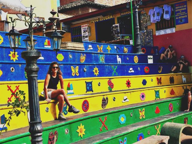 Colourful steps in Guatape Colombia - why visit Colombia