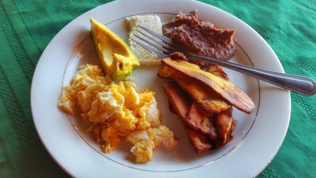 Traditional Honduran breakfast at the Cuna Maya Hotel Copan