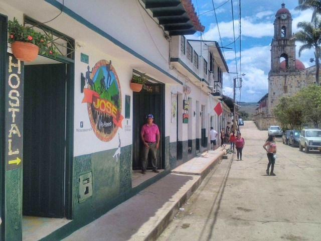 Hostal Donde Jose on the main square of Guadalupe Colombia