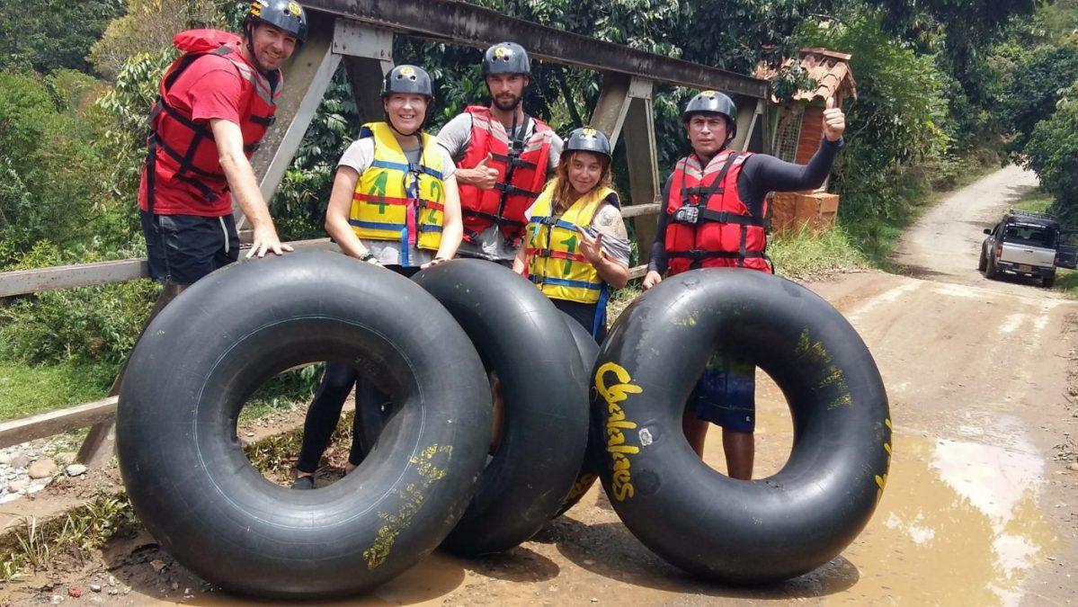 Hardcore tubing near Guadalupe in Charala Santander Colombia