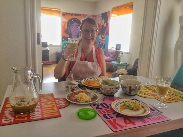 Cheers! Enjoying the full feast after my Bogota market tour and cooking class with 5Bogota
