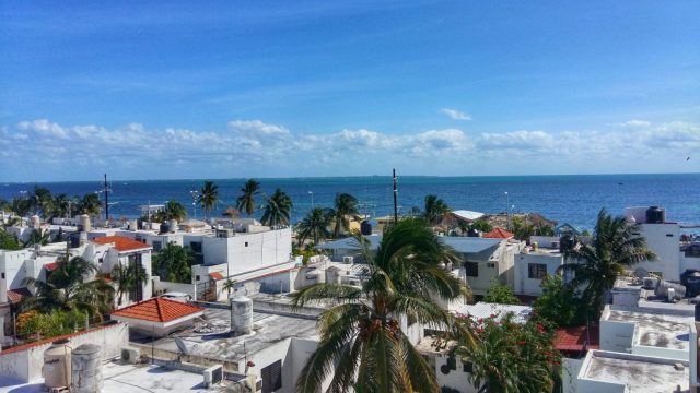 The view from the terrace of the Mermaid Hostel Beach Cancun