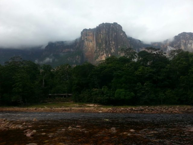 Angel Falls from our camp across the river in Canaima National Park Venezuela