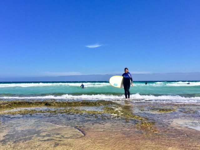 Me Slowly getting out of the water after my surf lesson in Fuerteventura