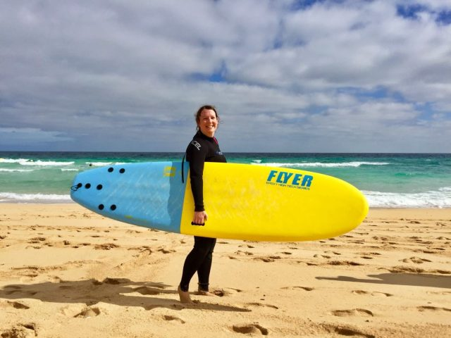 My glamorous surf babe self looking more like a drowned rat