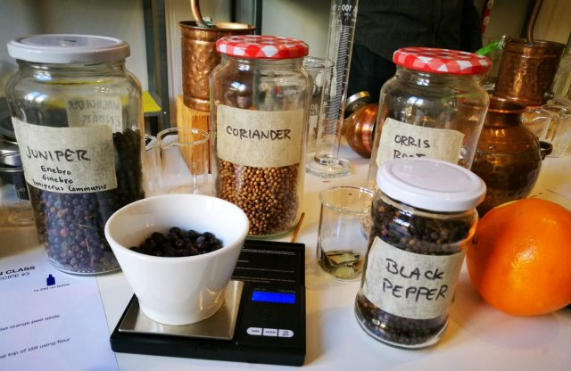 Some of the ingredients needed to make your own gin at Corpen Barcelona