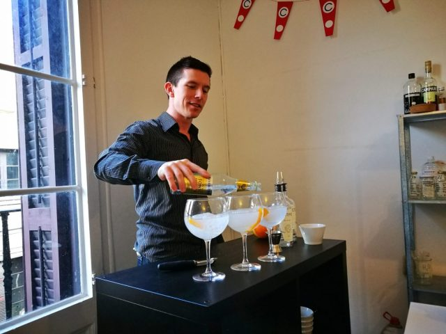 Brian serving up a gin and tonic during our the gin making class in Barcelona with Corpen Distillers