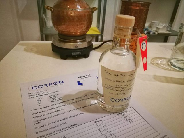 My homemade gin and recipe from the gin making class with Corpen Distillers in Barcelona