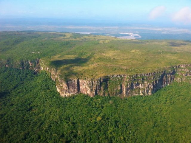 A flat-topped Tepui or Tepuy Mountain From the Plane Venezuela