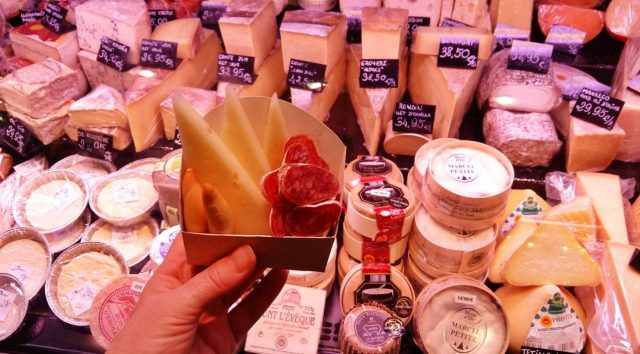 The 2nd bit of the self guided food tour in Barcelona - Cheese and fuet in the Boqueria Market