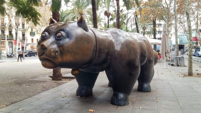 Botero's fat cat statue on Rambla del Raval Barcelona - a point of interest on the self guided food tour in Barcelona