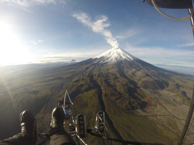 Cotopaxi Volcano from the air in Cotopaxi National Park Ecuador