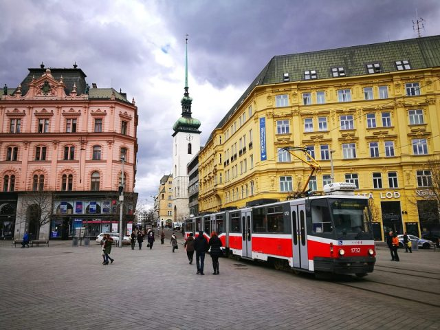 Brno's main square, and a tram which take you all over the city - Brno Czech Republic
