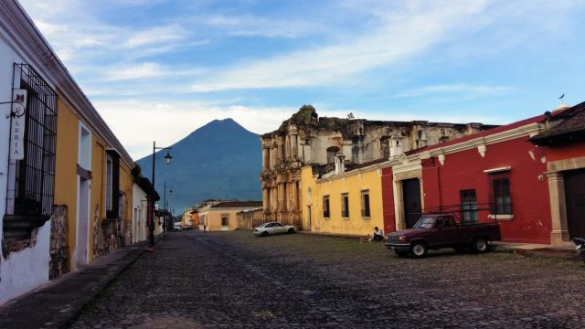What to do in Antigua Guatemala - Agua Volcano and a Quiet Street in Antigua