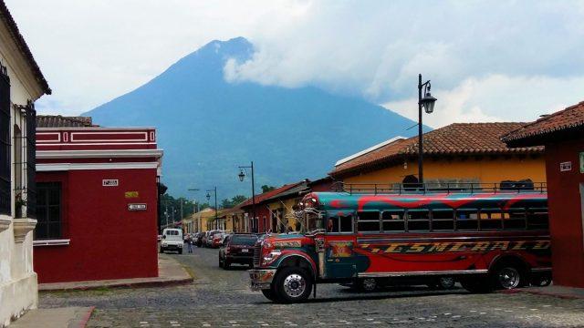 A Chicken Bus in Antigua Guatemala - Backpacking Guatemala