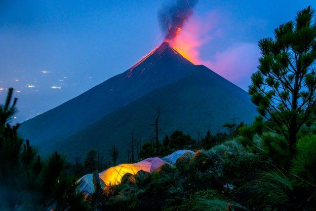 Fuego Volcano Erupts at Night - the Acatenango Volcano Hike